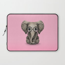 Cute Baby Elephant Calf with Reading Glasses on Pink Laptop Sleeve