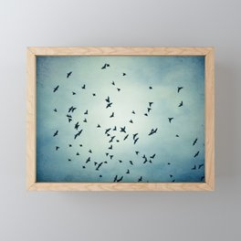 Birds Flying in Sky, Blue Nature Photography, Bird Flock Fly Dark Blue Framed Mini Art Print