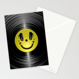 Vinyl headphone smiley Stationery Cards