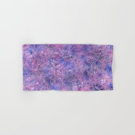 Purple and faux silver swirls doodles Hand & Bath Towel