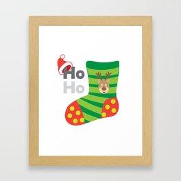 Happy New Year and Christmas Symbols Decoration Framed Art Print