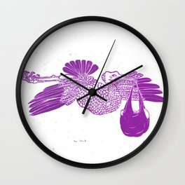 The Stork in pink Wall Clock