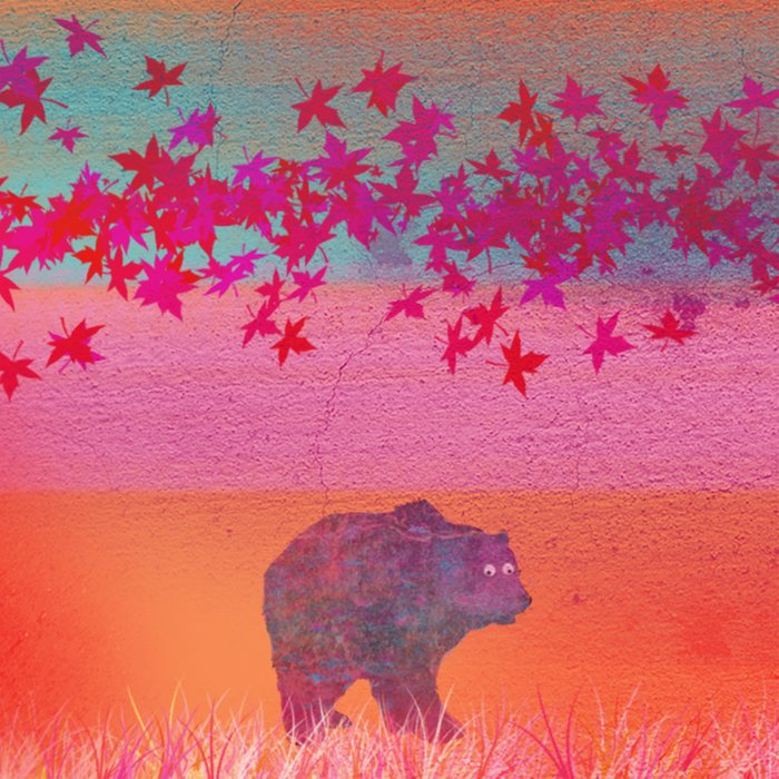 Little bear in the colorful field, leaf, colors, pink, blue, field, grass, bear Comforters