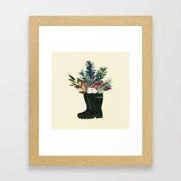 Christmas Boot Floral Bouquet No Text Framed Art Print