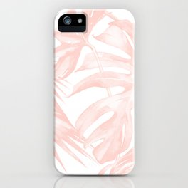 Tropical Leaves Pink and White iPhone Case