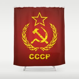 CCCP USSR Communist Used Shower Curtain