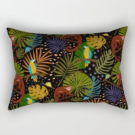 Jungle Pattern with Monkeys, Macaws and colorful Dart Frogs Rectangular Pillow