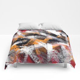 Abs orange black and white Comforters
