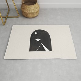 Ancient Alien Visitor Black White Minimalist Line Drawing Paper Collage by Ejaaz Haniff  Rug