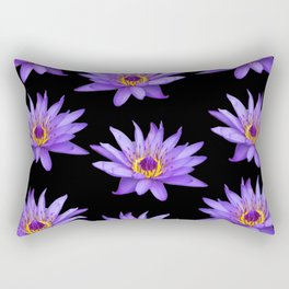 Lotus On Black Rectangular Pillow