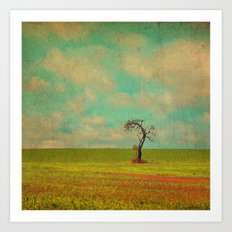 Lonesome Tree in Lime and Orange Field and Aqua and White Sky Art Print