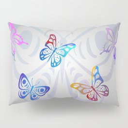 Big Butterflies with grey background Pillow Sham