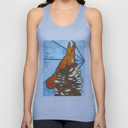 Stained Glass Red Squirrel Unisex Tank Top