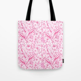 Mermaid Toile - Hot Pink Tote Bag