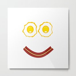 Bacon And Eggs Happy Face Metal Print