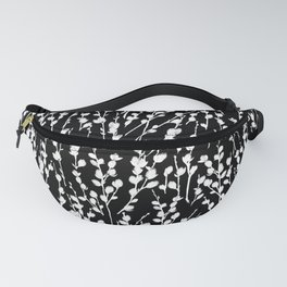 White on Black Pussywillow Pattern Fanny Pack