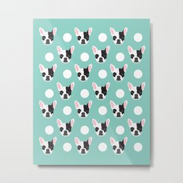 French Bulldog pattern polka dogs dog head funny dog meme cute gift for a dog lover frenchie owner Metal Print