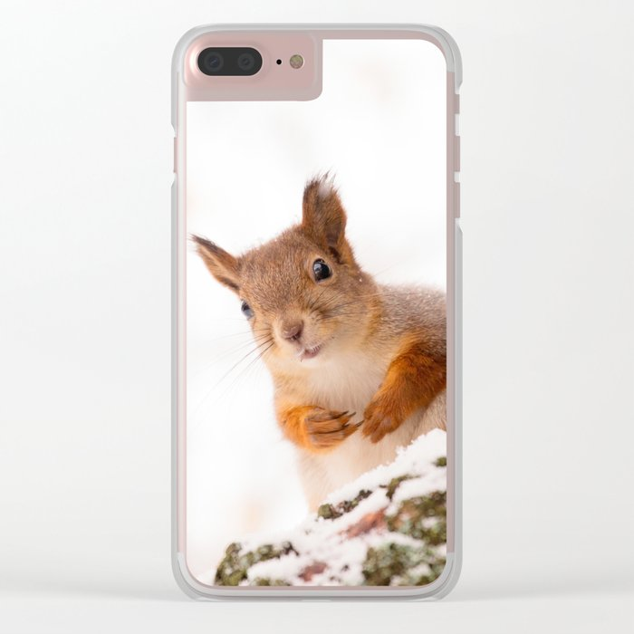 Squirrel in first snow #decor #buyart #society6 Clear iPhone Case