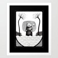 otter Art Prints featuring Otter by loukoumotion