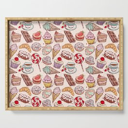 Hand drawn confectionery croissant Cupcake candy ice cream cake donut and coffee Serving Tray
