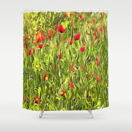 Surreal Hypnotic Poppies Shower Curtain
