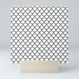 Scales (Grey & White Pattern) Mini Art Print