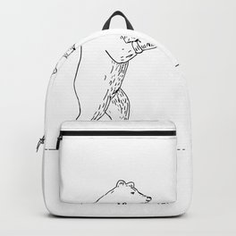 Two Grizzly Bear Boxers Boxing Drawing Backpack