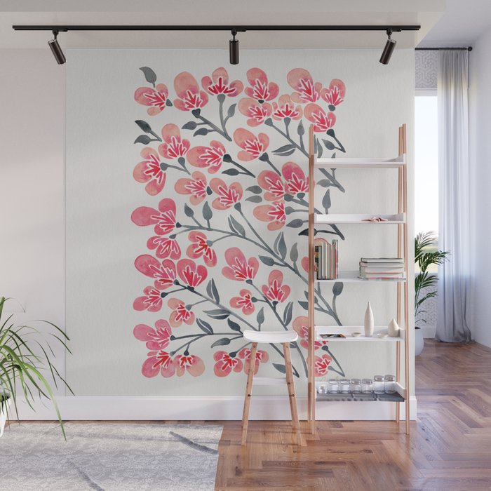 Cherry Blossoms – Pink & Black Palette Wall Mural