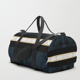 Midnight Blue Marble with Gold Glitter Ribbon Duffle Bag
