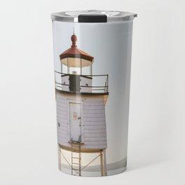 Lake Superior Agate Bay Lighthouse Sunset Travel Mug