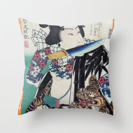 Kunichika Tattooed Warrior with Bamboo Pattern Background Throw Pillow