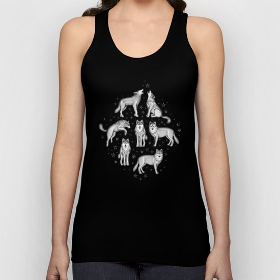 Wolves and Stars on White Unisex Tank Top