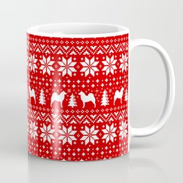 Finnish Spitz Silhouettes Christmas Sweater Pattern Coffee Mug