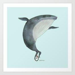 Whale Unicycle Art Print