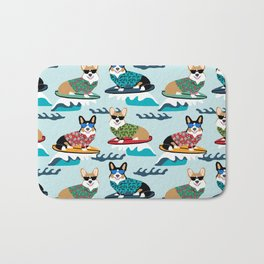 Corgi SUP Paddleboarding surfing watersports athlete summer fun dog breed Bath Mat