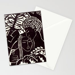 Black couple embracing, African American man and woman Stationery Cards