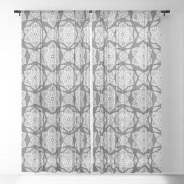 Floral Lotus Mandala Grey Sheer Curtain