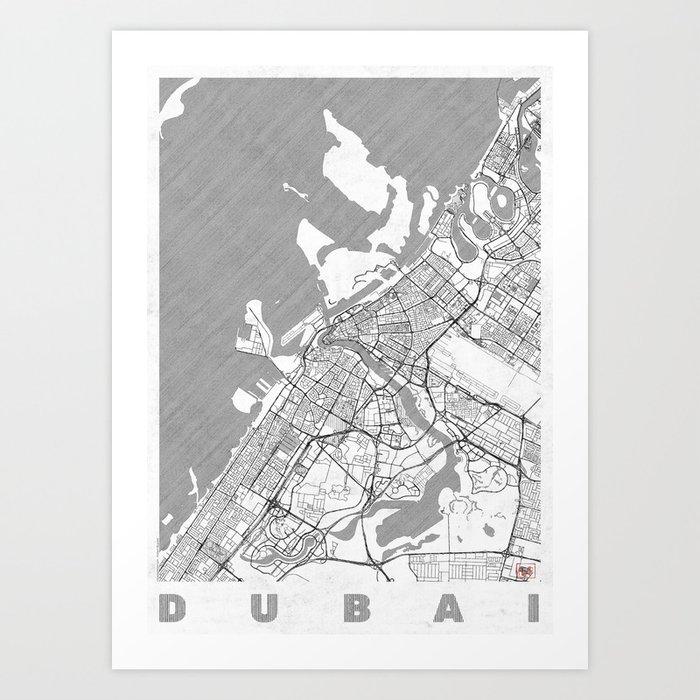 Dubai Map Line Art Print