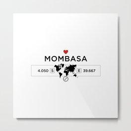 Mombasa - Kenya - World Map with GPS Coordinates Metal Print