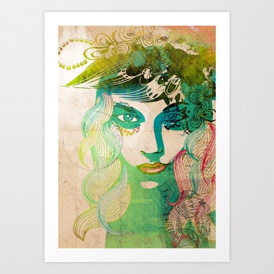 floral girl illustration Art Print