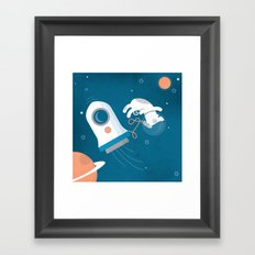 Darwin the Diddy Dog Diving into Deep Space Framed Art Print