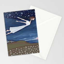 Flying Girl Remembers Her Dreams, or Night Blooming Stationery Cards