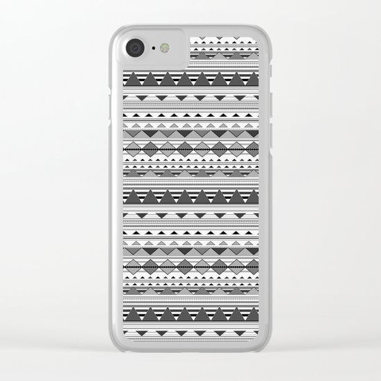 Aztec Black & White Clear iPhone Case