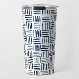 Indigo Crosshatch Pattern Travel Mug
