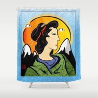 asia Shower Curtains featuring Miss Asia by elledeegee