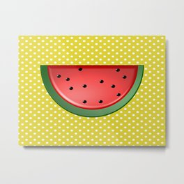 Watermelon and Polka Dots Metal Print
