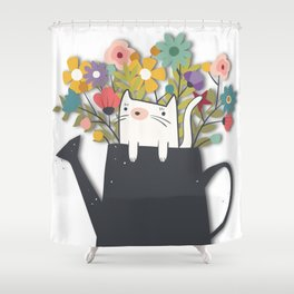 The Cat Is Back Shower Curtain