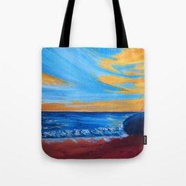 beach landscape painting, seascape art, boat art Tote Bag
