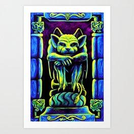 Gothic Gargoyle, Trippy Psychedelic by Vincent Monaco Art Print