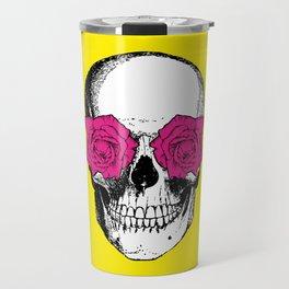 Skull and Roses | Yellow and Pink Travel Mug